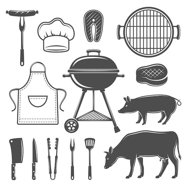 Conjunto de elementos planos gráficos decorativos para churrasco Vetor grátis