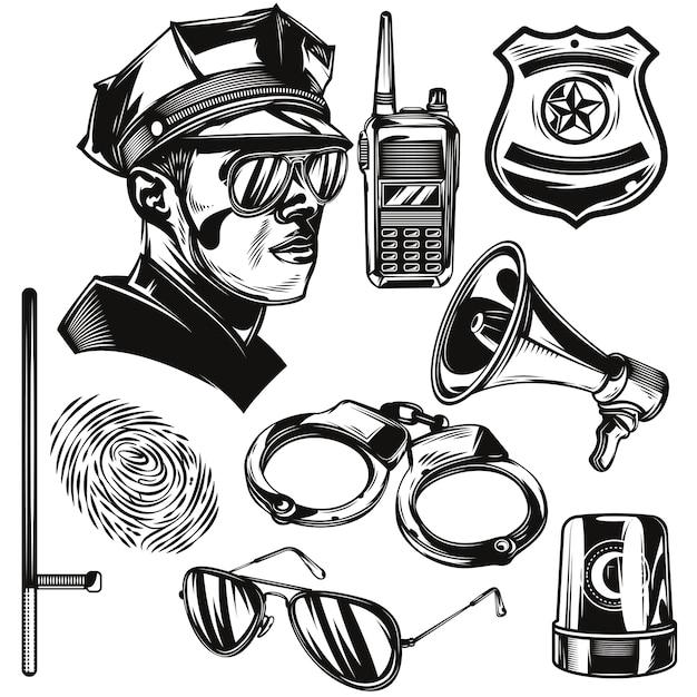 Conjunto de elementos policiais Vetor grátis