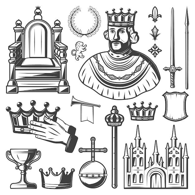 Conjunto de elementos reais vintage com rei trono coroa de louros espada lança coroa trompete monarquia orbe castelo escudo cetro copo isolado Vetor grátis