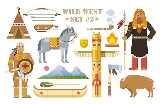 Conjunto de elementos sobre o tema do oeste selvagem. índios da américa do norte. vida de nativos americanos. o desenvolvimento da américa. moderno estilo simples. parte dois. Vetor Premium