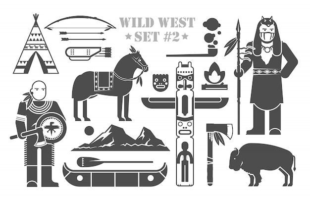 Conjunto de elementos sobre o tema do oeste selvagem. índios da américa do norte. vida de nativos americanos. o desenvolvimento da américa. parte dois. Vetor Premium