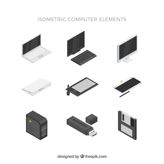 Conjunto de elementos tecnológicos com vista isométrica Vetor grátis