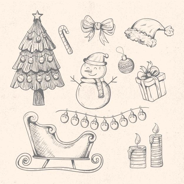 Conjunto de elementos vintage de natal Vetor grátis