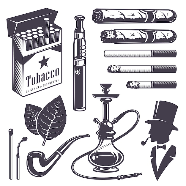 Conjunto de elementos vintage de tabaco para fumar. estilo monocromático. isolado no fundo branco. Vetor grátis