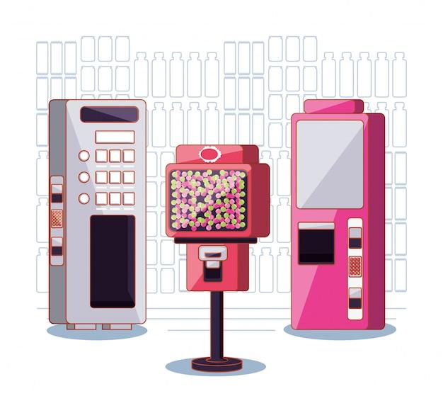 Conjunto de eletrônicos de máquinas dispensadoras Vetor Premium
