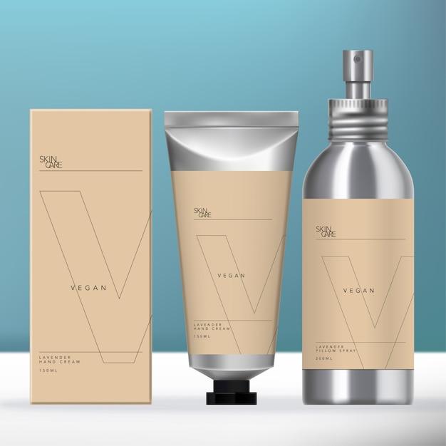 Conjunto de embalagem de alumínio de beleza com frasco de spray de aerossol com tampa de rosca, tubo de prata metálico e caixa de papelão. Vetor Premium