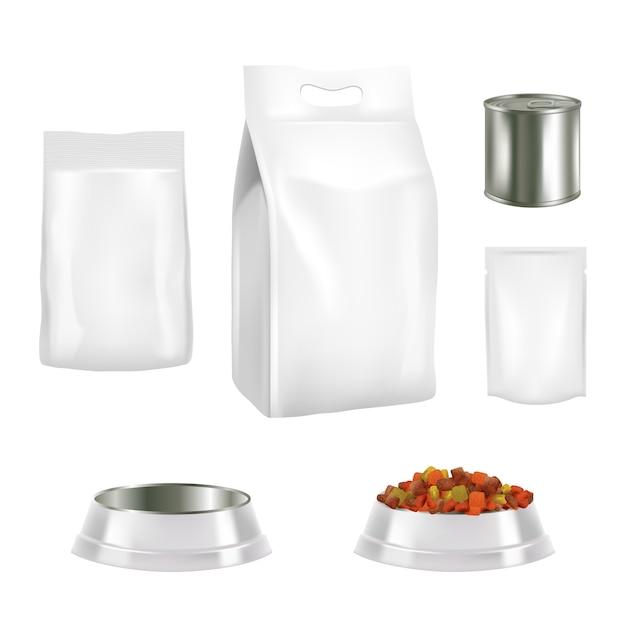 Conjunto de embalagens de alimentos para cães Vetor Premium