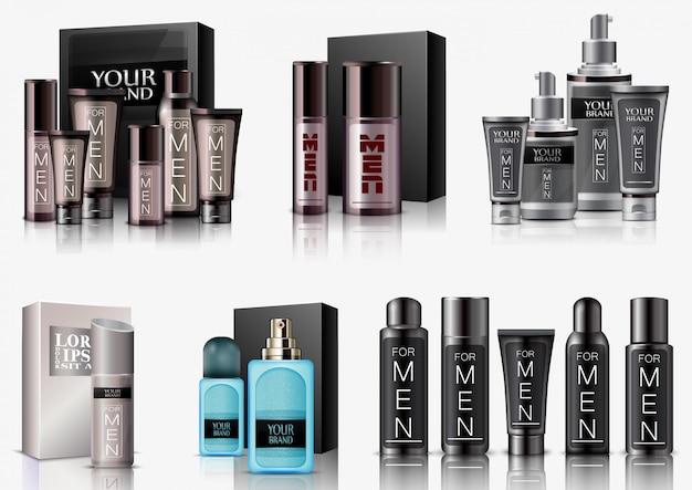 Conjunto de embalagens de cosméticos de homens no fundo branco Vetor Premium