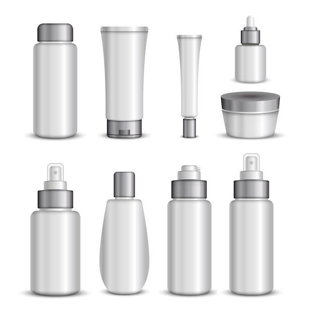 Conjunto de embalagens de cosméticos Vetor grátis