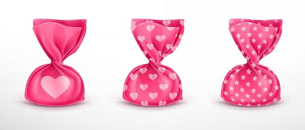 Conjunto de embalagens de doces rosa com padrões Vetor grátis