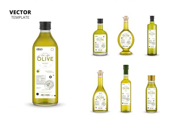 Conjunto de embalagens de garrafas de azeite de oliva extra virgem Vetor Premium