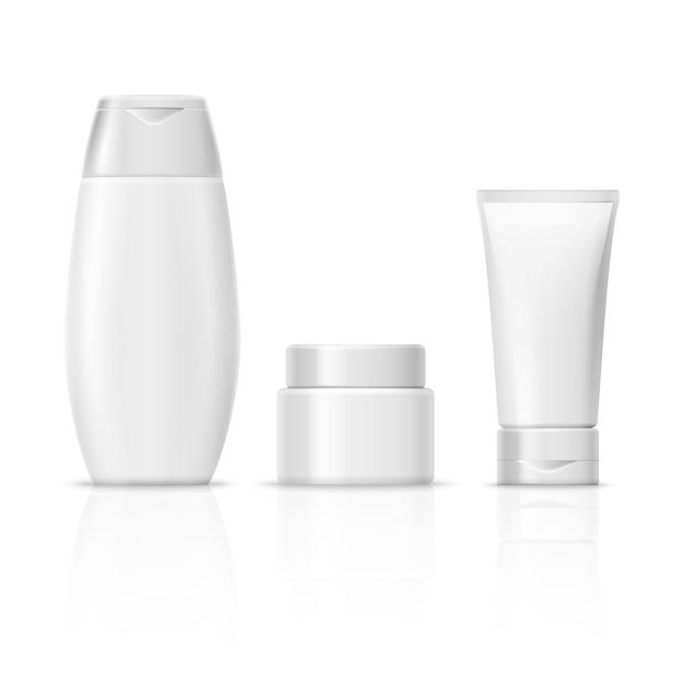 Conjunto de embalagens de produtos cosméticos em branco branco, tubo de creme, frasco de xampu, recipiente de creme Vetor Premium