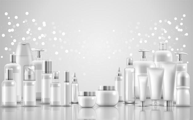 Conjunto de embalagens de produtos de beleza natural para cuidados com a pele Vetor Premium