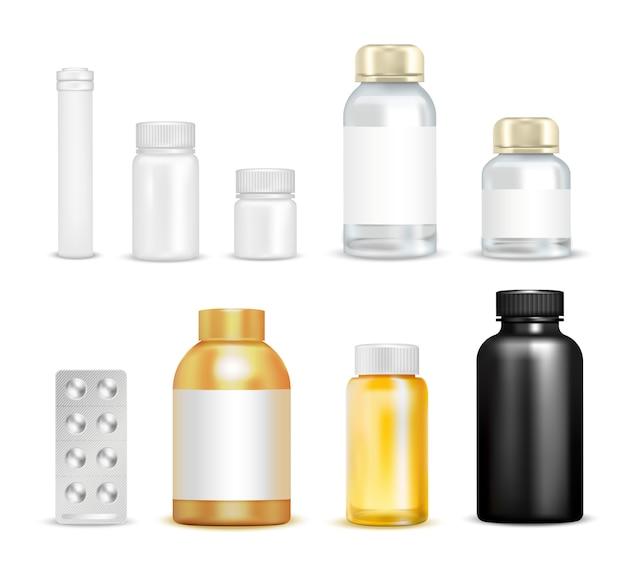 Conjunto de embalagens de vitaminas medicinais Vetor grátis