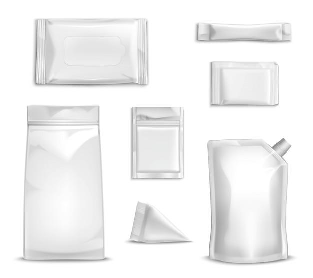Conjunto de embalagens em branco Vetor grátis