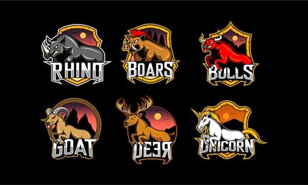 Conjunto de emblema animal. esport logo gaming Vetor Premium