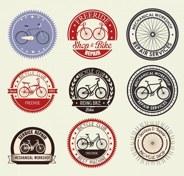 Conjunto de emblema de bicicleta para loja e serviço mecânico Vetor grátis