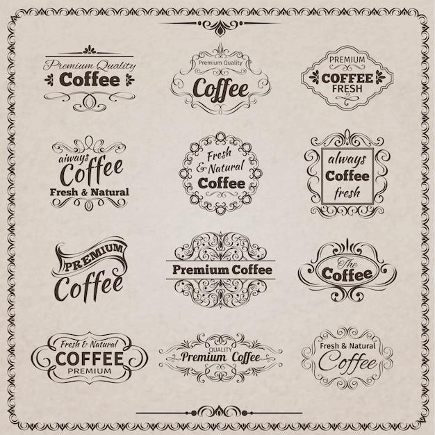 Conjunto de emblema de café Vetor grátis