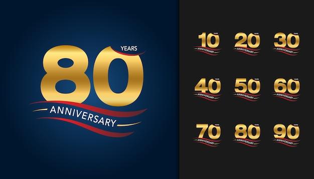 Conjunto de emblema de celebração de aniversário de ouro. Vetor Premium