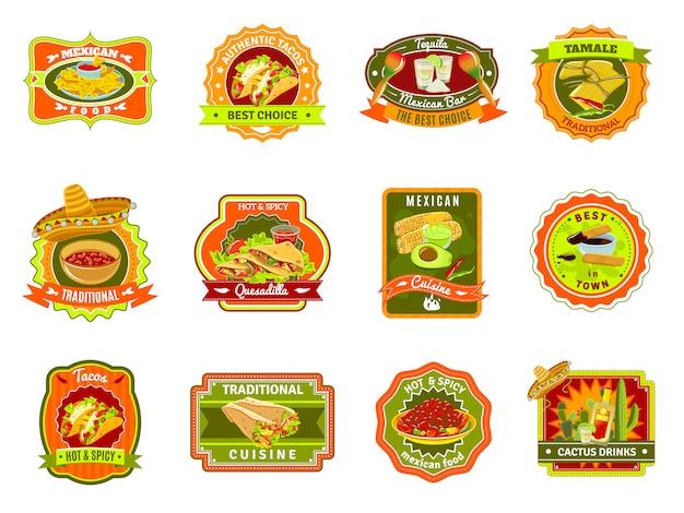 Conjunto de emblema de comida mexicana Vetor grátis