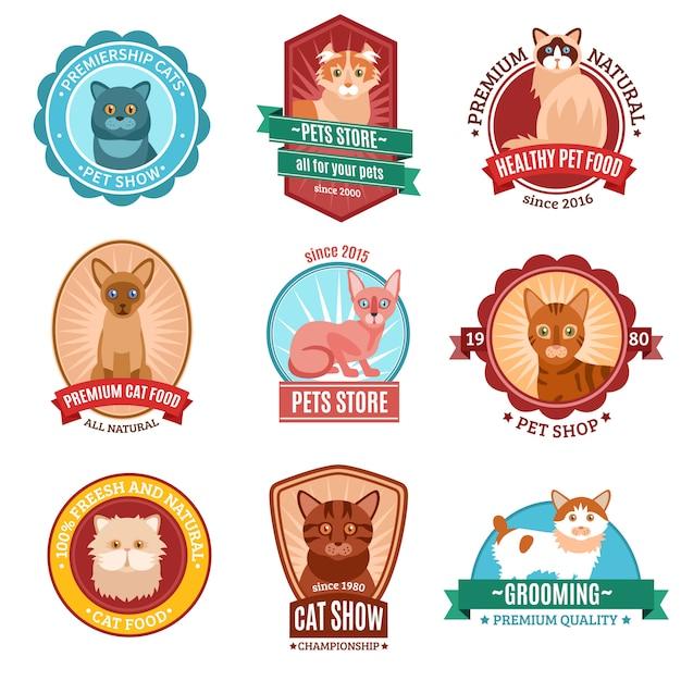 Conjunto de emblema de gatos Vetor grátis