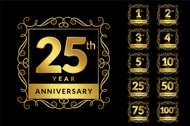 Conjunto de emblema de logotipo dourado de luxo vintage aniversário Vetor grátis