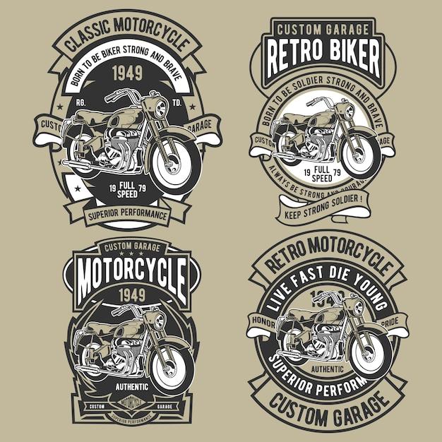 Conjunto de emblema de motocicleta clássica Vetor Premium