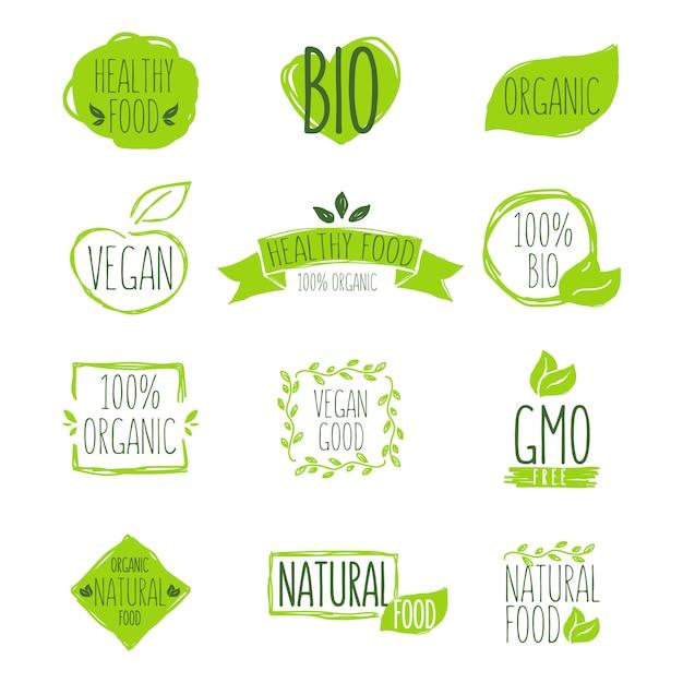 Conjunto de emblema de produto orgânico Vetor grátis