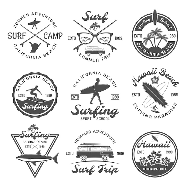 Conjunto de emblema de surf Vetor grátis
