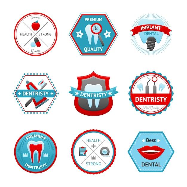 Conjunto de emblema dental Vetor grátis