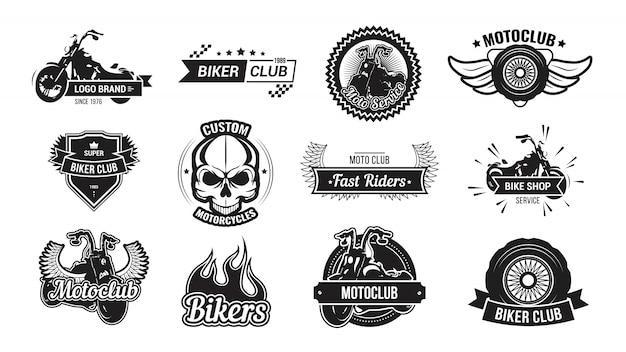 Conjunto de emblema do clube de motociclistas Vetor grátis