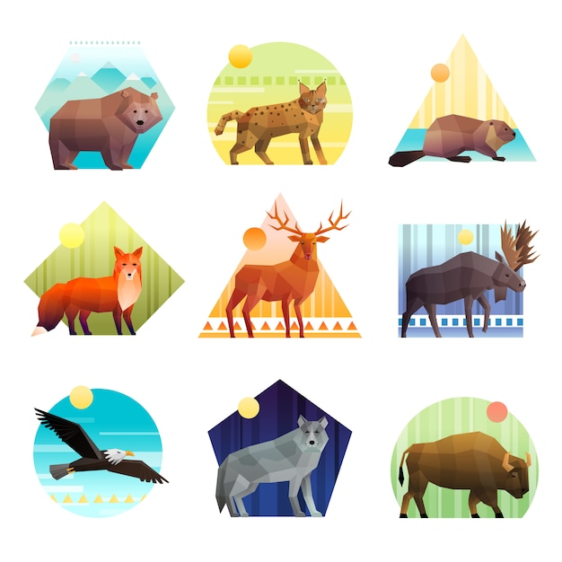 Conjunto de emblema poligonal de animais Vetor grátis