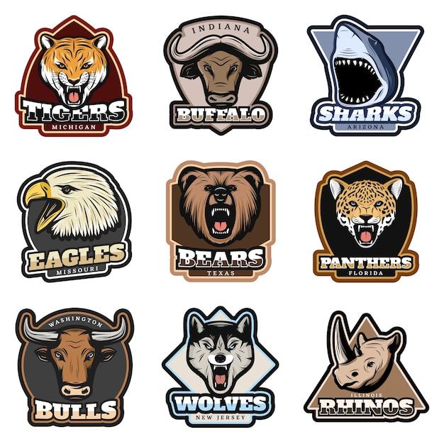 Conjunto de emblemas coloridos de animais selvagens Vetor grátis