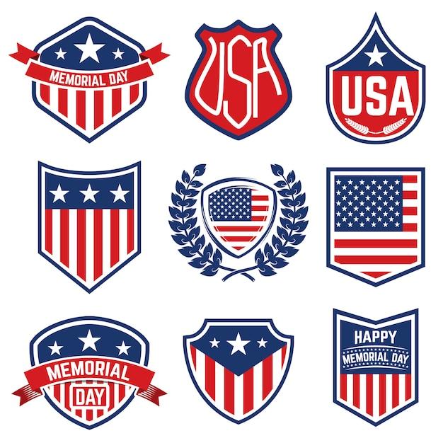Conjunto de emblemas com a bandeira americana. dia memorial. ilustração Vetor Premium
