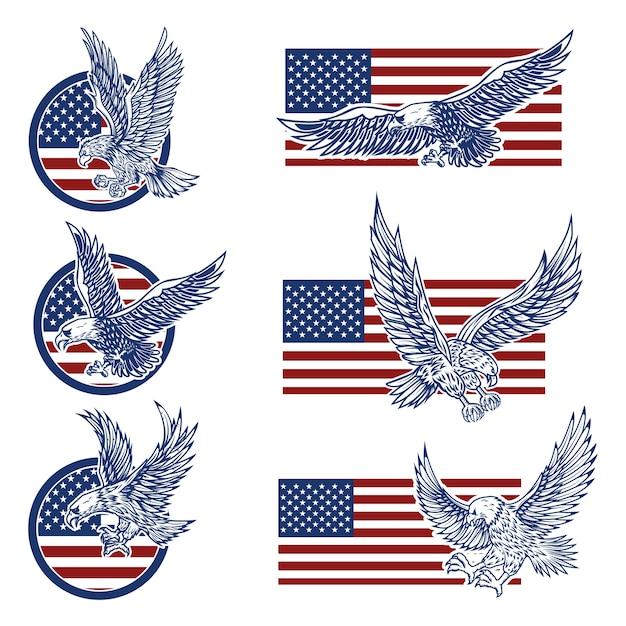 Conjunto de emblemas com águias no fundo da bandeira do eua. Vetor Premium