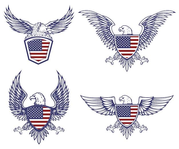 Conjunto de emblemas com águias no fundo da bandeira eua. elementos para o logotipo, etiqueta, emblema, sinal. ilustração Vetor Premium