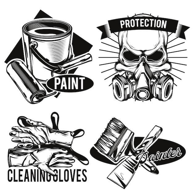 Conjunto de emblemas das instalações do pintor Vetor grátis
