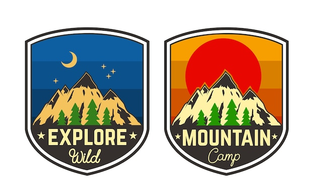 Conjunto de emblemas de acampamento de montanha. elemento para logotipo, etiqueta, sinal, cartaz, camiseta. ilustração Vetor Premium
