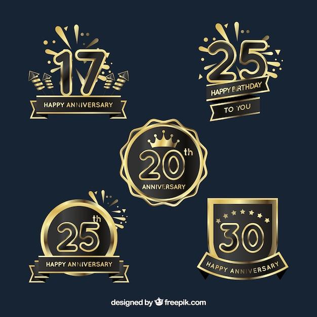 Conjunto de emblemas de aniversário de ouro Vetor grátis