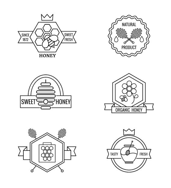 Conjunto de emblemas de apicultura e apicultura Vetor grátis