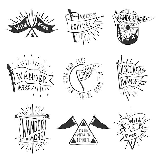 Conjunto de emblemas de bandeira de aventura e ao ar livre. Vetor Premium