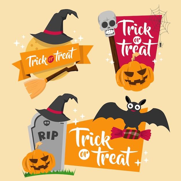 Conjunto de emblemas de banner de halloween Vetor Premium