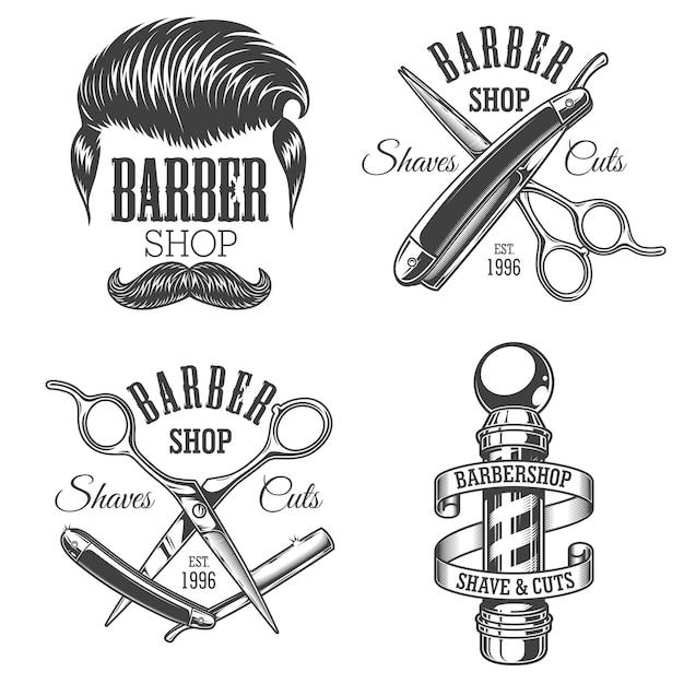 Conjunto de emblemas de barbearia vintage Vetor Premium
