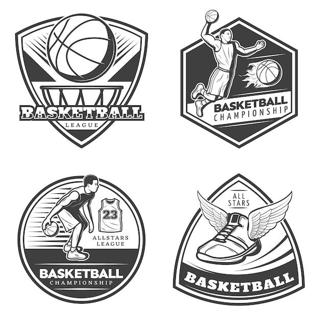 Conjunto de emblemas de basquete vintage Vetor grátis