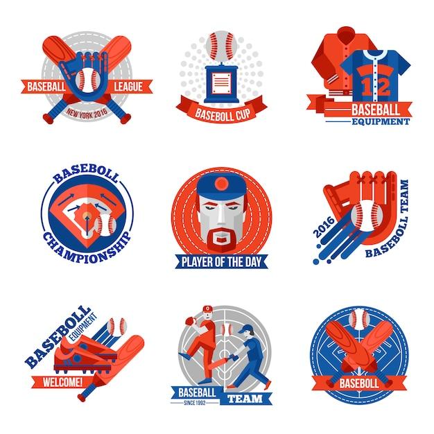 Conjunto de emblemas de beisebol Vetor grátis
