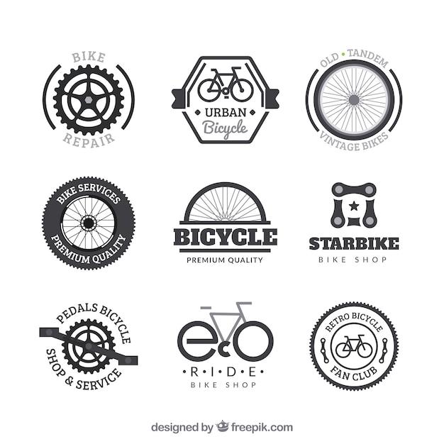 Conjunto de emblemas de bicicleta em estilo vintage Vetor grátis