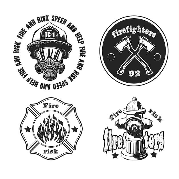 Conjunto de emblemas de bombeiro isolado no branco. Vetor grátis