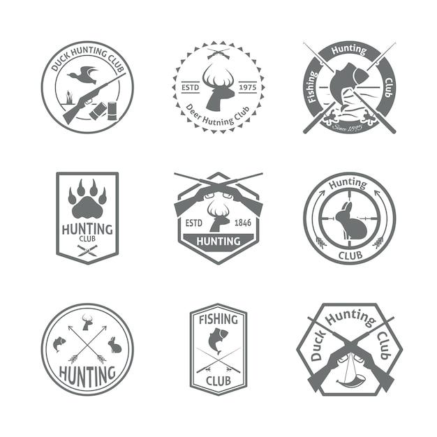 Conjunto de emblemas de caça Vetor grátis