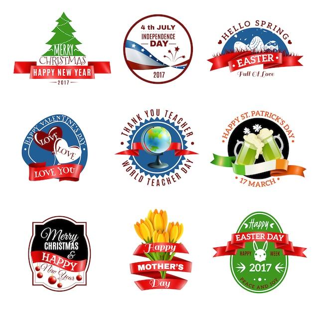 Conjunto de emblemas de cartões Vetor grátis