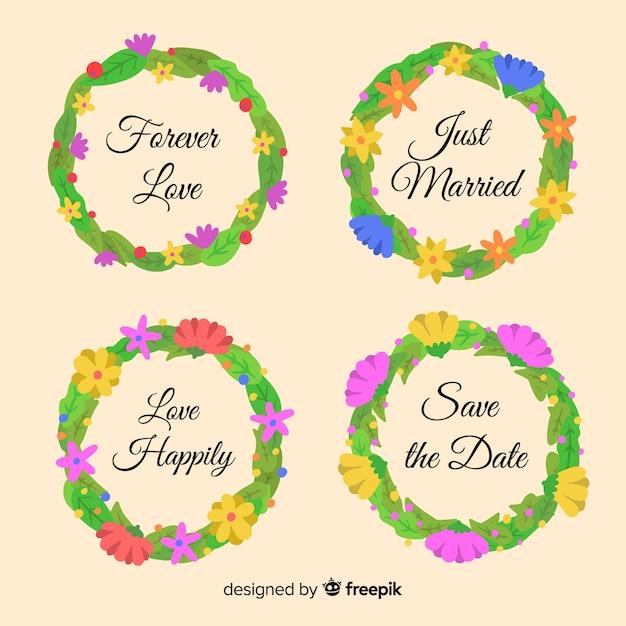 Conjunto de emblemas de casamento floral mão desenhada Vetor grátis